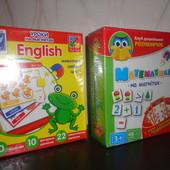 Навчальні картки, математика англійська на магнітах, математика и английский на магнитах