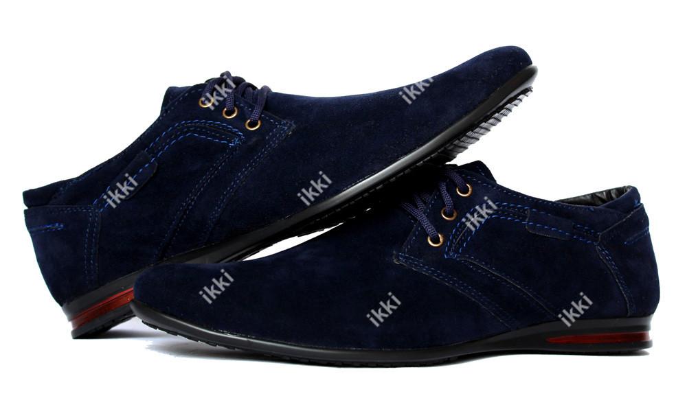 Мужские современные туфли замшевые синего цвета (БМ-01сзн) фото №1