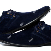 Мужские современные туфли замшевые синего цвета (БМ-01сзн)