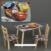 """Столик и два стульчика деревянные """"Тачки"""" С 104"""