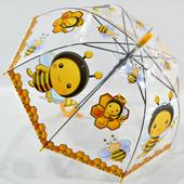 Детский прозрачный зонт зонтик трость для мальчика и девочки с мимишными героями