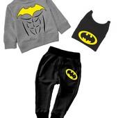 """Комплект спортивный костюм тройка свитшот+штаны+шапка """"Бэтмен с прессом"""""""
