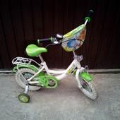 Велосипед детский диаметр колёс 12 Фиксики , цвет белый с зелёным