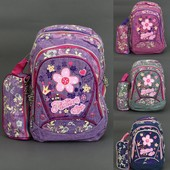 Рюкзак школьный, Fashion style, ткань- ЛЁН, 4 вида, 3 отделения, 2 кармана, пенал, спинка ортопедиче