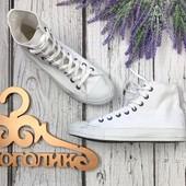 Фирменные высокие кеды Converse в total white расцветке  SH3430