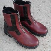 Кожаные зимние ботинки натуральная кожа 37р 24 см нові шкіряні чоботи