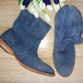 Замша,кожа /Новые Оригинал  san marina  стильные голубые ботинки ,полуботинки 37-38р/23см+-