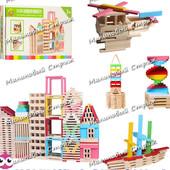 Деревянная игрушка Городок MD 0949, 150 строительных блоков палочек, в коробке