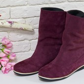 Комфортные ботинки из натуральной замши бордового цвета, М-21