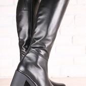 Демисезонные женские сапоги, кожаные, на байке, на небольшом устойчивом каблуке