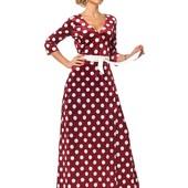 Платье с запахом из бархата принтованное горохом в ассортименте
