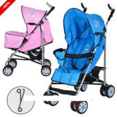 Коляска детская трость aria S1-1, голубая и розовая