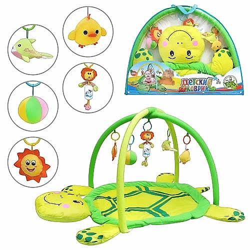 Коврик для младенца 898-12В мягкая черепаха, дуги с подвесками фото №1
