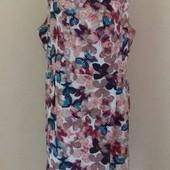 Льняное платье большого размера с принтом