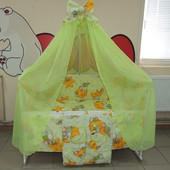 Детское постельное в кроватку мишки горох салатовое 9 в 1