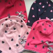 Трикотажная шапка для девочки Бантики 52-54 см