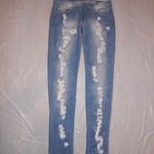 на высокий рост! M-L, поб 48-50, модные джинсы рванки скинни Never Denim   очень узкие! рваные и впе
