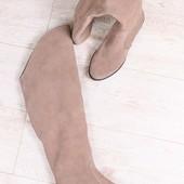 Демисезонные женские ботфорты, на байке, на низком ходу, замшевые, цвет-латте