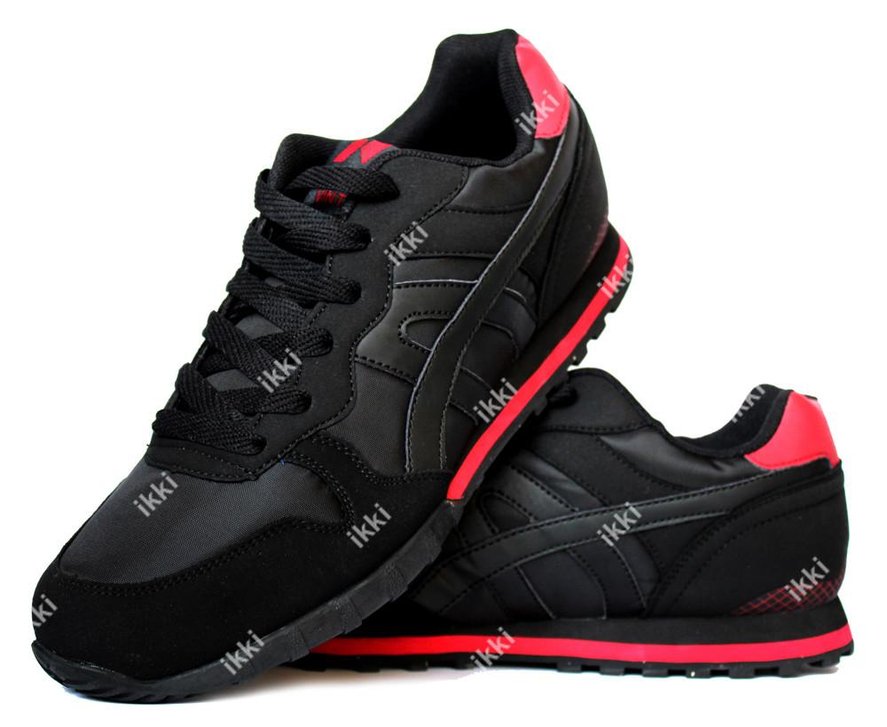 Яркие мужские кроссовки черные с красными вставками (69ч) фото №1