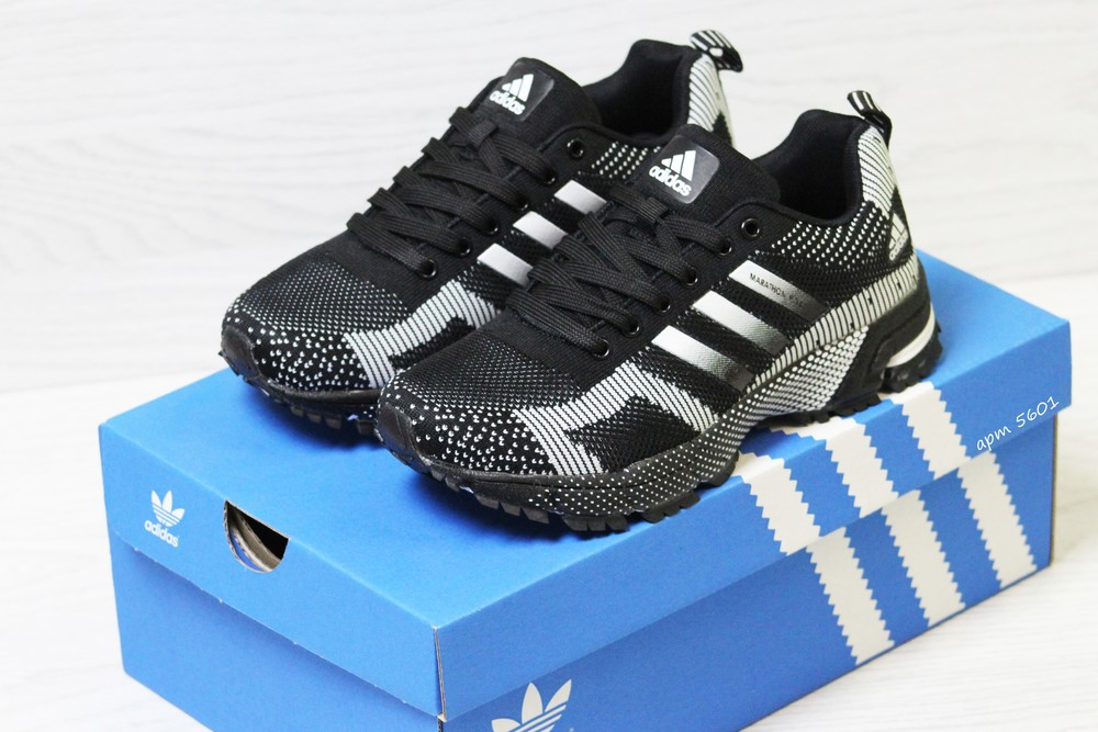 Кроссовки adidas marathon flyknit black/white фото №1