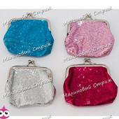 Детский кошелек с блестками, цвета в ассортименте