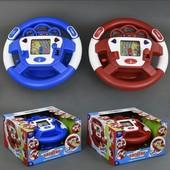 Руль музыкальный интерактивный автотренажер  2 цвета, звук,свет 9733 Работает от батареек