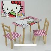 """Столик и два стульчика деревянные """"Hello Kitty"""" С 095"""