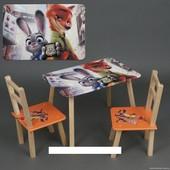 """Столик и два стульчика деревянные """"Зверополис """" С 073"""