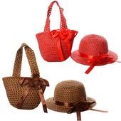 Набор пляжный сумочка и шляпка X11549, 6 цветов