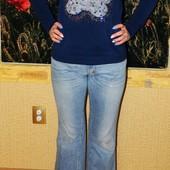 Джинсы женские голубые расклешенные с потертостями р. 44-46 D&G р. 30-44