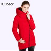 Теплая зимняя куртка Icebear с капюшоном, красная, размер S-M, новая
