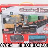 Железная дорога на батарейках, свет, звук, в коробке 38,0*6,0*32,0см