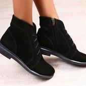 Женские полуботинки, замшевые, черные, на шнурках, на байке