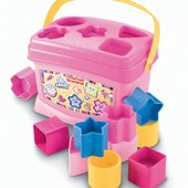 Fisher-Price Сортер ведерко розовое brilliant basics baby's first blocks