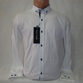 Мужская белая приталенная рубашка с длинным рукавом Paul Smith.