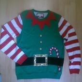 Фирменная новогодняя кофта свитер L
