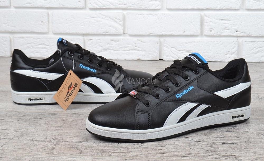 Кроссовки мужские кожаные Reebok Classics Royal Complete Low прошитые черные с синим фото №1