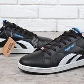 Кроссовки мужские кожаные Reebok Classics Royal Complete Low прошитые черные с синим