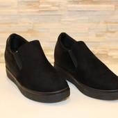 Туфли женские черные на скрытой танкетке Т847