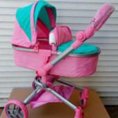 Коляска-трансформер для кукол Melogo 9695, мятно-розовая