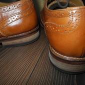 Туфли броги полностью кожаные прошитые коричневые ASOS 43 стелька 28.8