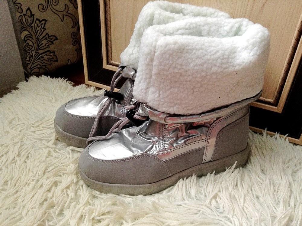 Новая мода супер сапожки-дутики серебро ! фото №10