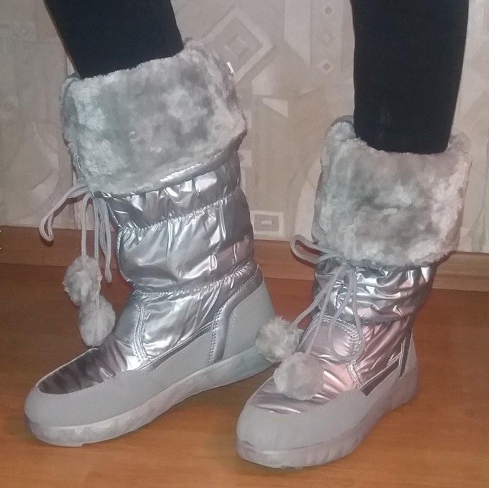 Новая мода супер сапожки-дутики серебро ! фото №4