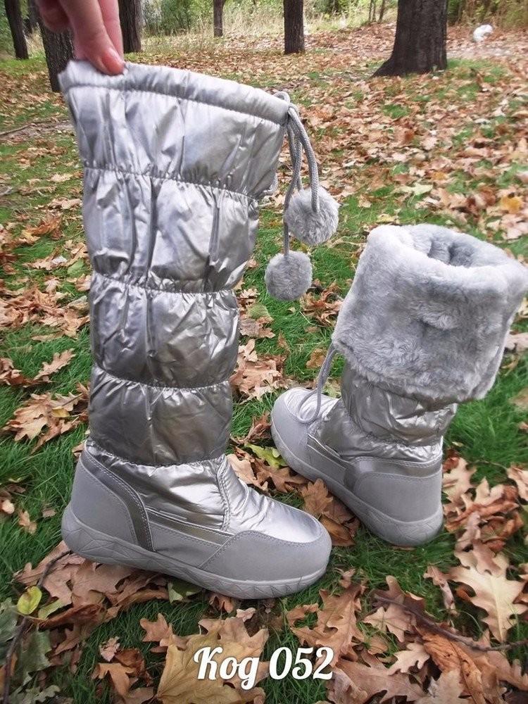 Новая мода супер сапожки-дутики серебро ! фото №6