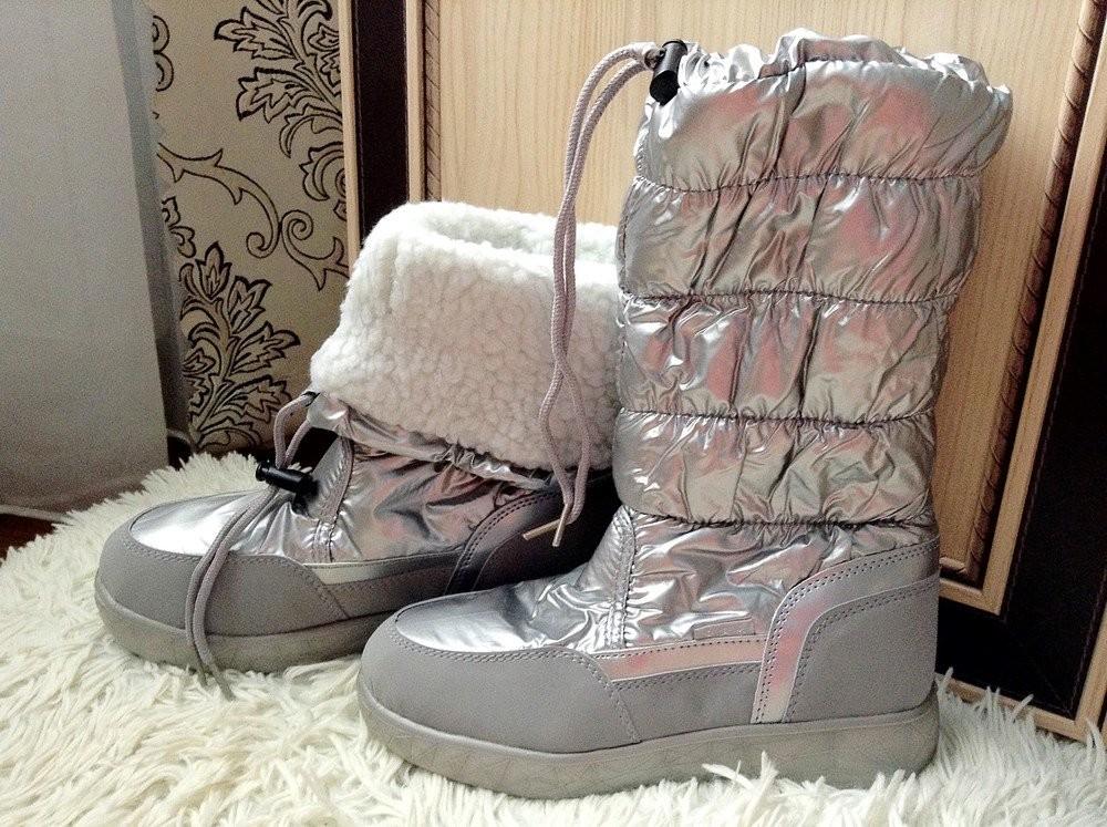 Новая мода супер сапожки-дутики серебро ! фото №8