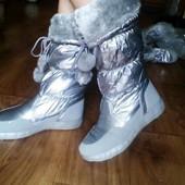 Новая мода Супер сапожки-дутики серебро