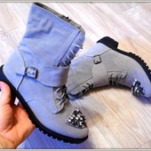 Женские ботинки утеплены серые
