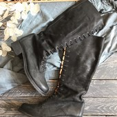 Высокие кожаные сапоги на шнуровке р-р 38