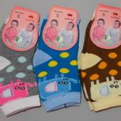 Носки детские махровые за 3 пары 0-6 месяцев