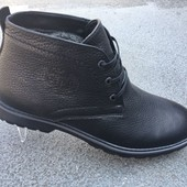 Кожаные мужские ботинки на зиму, черные